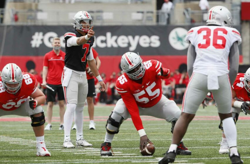 C.J. Stroud is believed to be the leader in the three-way quarterback competition, but coach Ryan Day has not indicated there is a favorite. Ohio State Football Spring Game