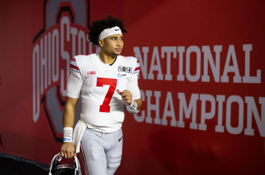 Jan 11, 2021; Miami Gardens, Florida, USA; Ohio State Buckeyes quarterback C.J. Stroud (7) against the Alabama Crimson Tide in the 2021 CFP National Championship Game. Mandatory Credit: Mark J. Rebilas-USA TODAY Sports