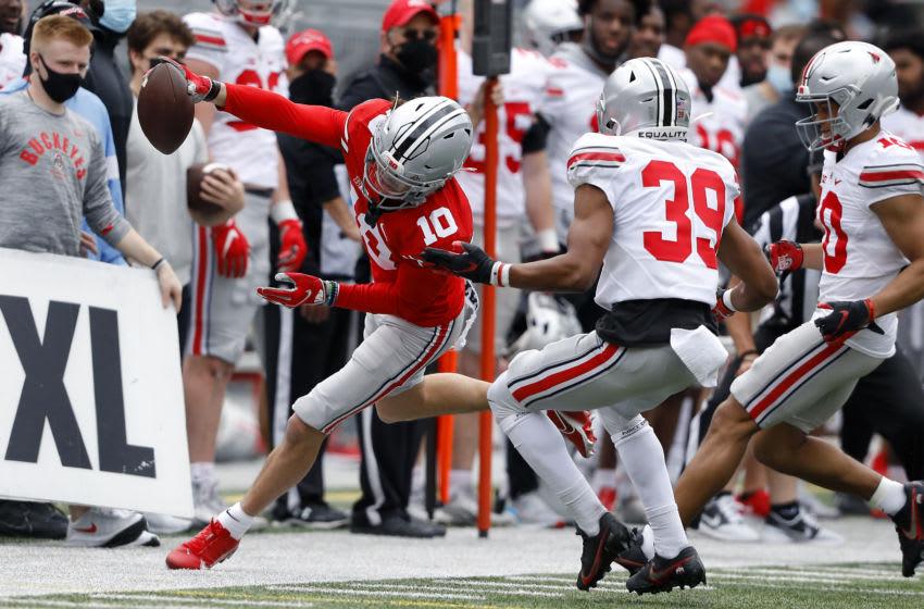 Apr 17, 2021; Columbus, Ohio, USA; Ohio State Buckeyes wide receiver Jayden Ballard (10) makes the catch during the annual spring game at Ohio Stadium. Mandatory Credit: Joseph Maiorana-USA TODAY Sports