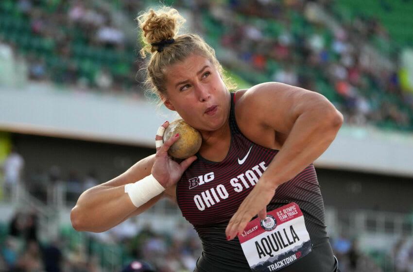 24 يونيو 2021 ؛  يوجين ، أوريغون ، الولايات المتحدة الأمريكية ؛  احتلت أديلايد أكويلا المركز الثالث في تسديدة السيدات بنتيجة 62-2 1/4 (18.95 م) خلال تجارب الفريق الأولمبي الأمريكي في هايوارد فيلد.  الائتمان الإلزامي: Kirby Lee-USA TODAY Sports