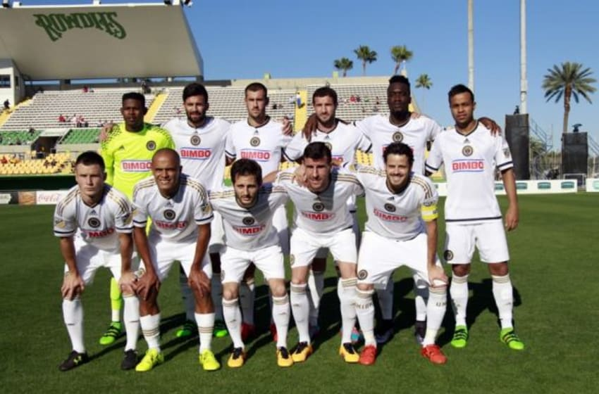 Feb 17, 2016; St. Petersburg, FL, USA; Philadelphia Union team poses for a team photo before the game against the D.C. United at Al Lang Stadium. Mandatory Credit: Kim Klement-USA TODAY Sports
