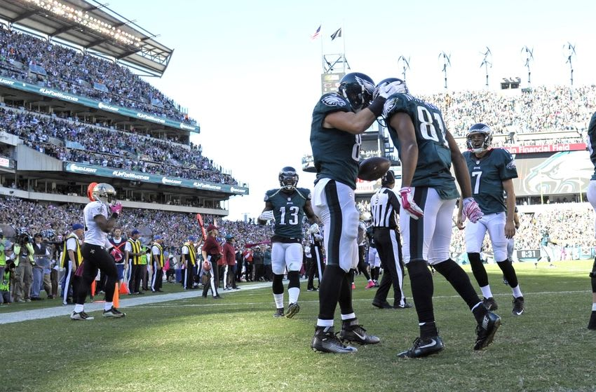 Oct 11, 2015; Philadelphia, PA, USA; Philadelphia Eagles tight end Brent Celek (87) celebrates a 13-yard touchdown catch with wide receiver Jordan Matthews (81) during the third quarter against the New Orleans Saints at Lincoln Financial Field. Mandatory Credit: Eric Hartline-USA TODAY Sports