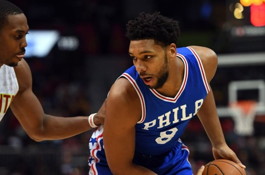 Nov 12, 2016; Atlanta, GA, USA; Philadelphia 76ers center Jahlil Okafor (8) works against Atlanta Hawks center Dwight Howard (8) during the first half at Philips Arena. Mandatory Credit: Christopher Hanewinckel-USA TODAY Sports