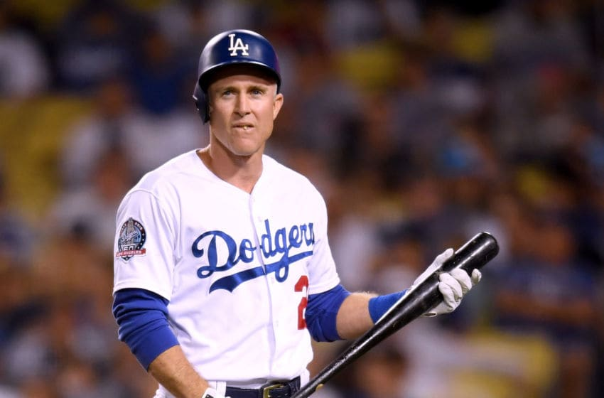 LOS ANGELES, CA - SEPTEMBER 18: Chase Utley #26 of the Los Angeles Dodgers reacts to his strikeout during the ninth inning at Dodger Stadium on September 18, 2018 in Los Angeles, California. (Photo by Harry How/Getty Images)