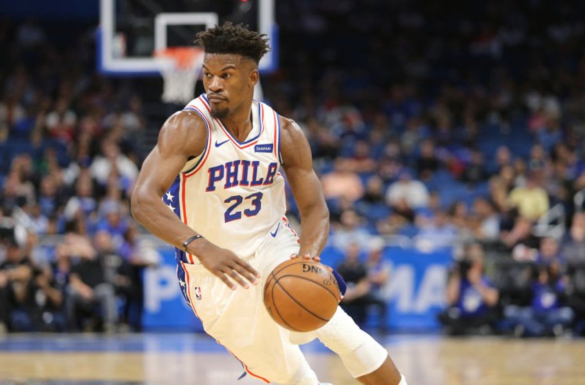 ORLANDO, FL - NOVEMBER 14: Jimmy Butler #23 of the Philadelphia 76ers is seen during a NBA game against the Orlando Magic at Amway Center on November 14, 2018 in Orlando, Florida. NOTE TO USER: User expressly acknowledges and agrees that, by downloading and or using this photograph, User is consenting to the terms and conditions of the Getty Images License Agreement. (Photo by Alex Menendez/Getty Images)