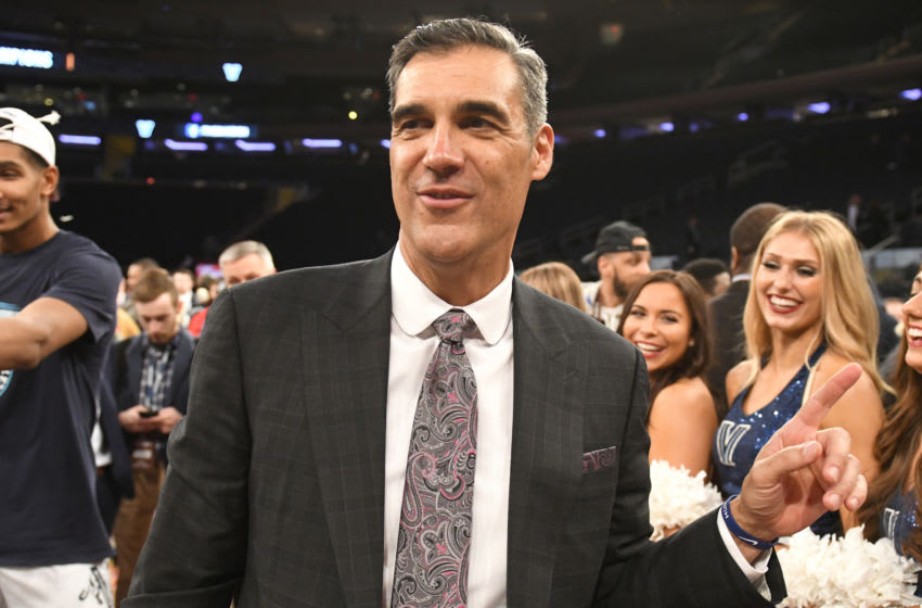 NEW YORK, NY - MARCH 16: Head coach Jay Wright of the Villanova Wildcats looks on after winning the Big East Men's Basketball Championship against the Seton Hall Pirates at Madison Square Garden on March 16, 2019 in New York City. (Photo by Mitchell Layton/Getty Images)