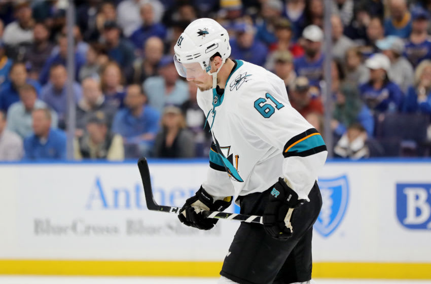 ST LOUIS, MISSOURI - MAY 21: Justin Braun #61 of the San Jose Sharks reacts against the St. Louis Blues during the second period in Game Six of the Western Conference Finals during the 2019 NHL Stanley Cup Playoffs at Enterprise Center on May 21, 2019 in St Louis, Missouri. (Photo by Elsa/Getty Images)
