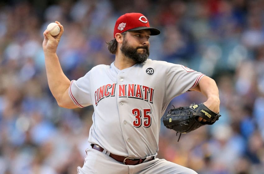 MILWAUKEE, WISCONSIN - JULY 23: Tanner Roark #35 of the Cincinnati Reds pitches in the first inning against the Milwaukee Brewers at Miller Park on July 23, 2019 in Milwaukee, Wisconsin. (Photo by Dylan Buell/Getty Images)