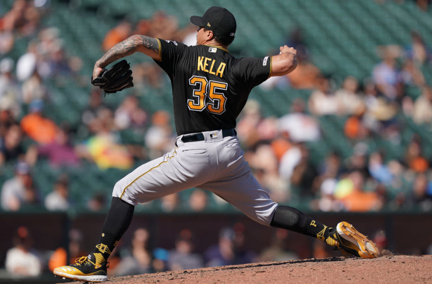 SAN FRANCISCO, CALIFORNIA - SEPTEMBER 12: Keone Kela #35 of the Pittsburgh Pirates pitches against the San Francisco Giants in the bottom of the seventh inning at Oracle Park on September 12, 2019 in San Francisco, California. (Photo by Thearon W. Henderson/Getty Images)