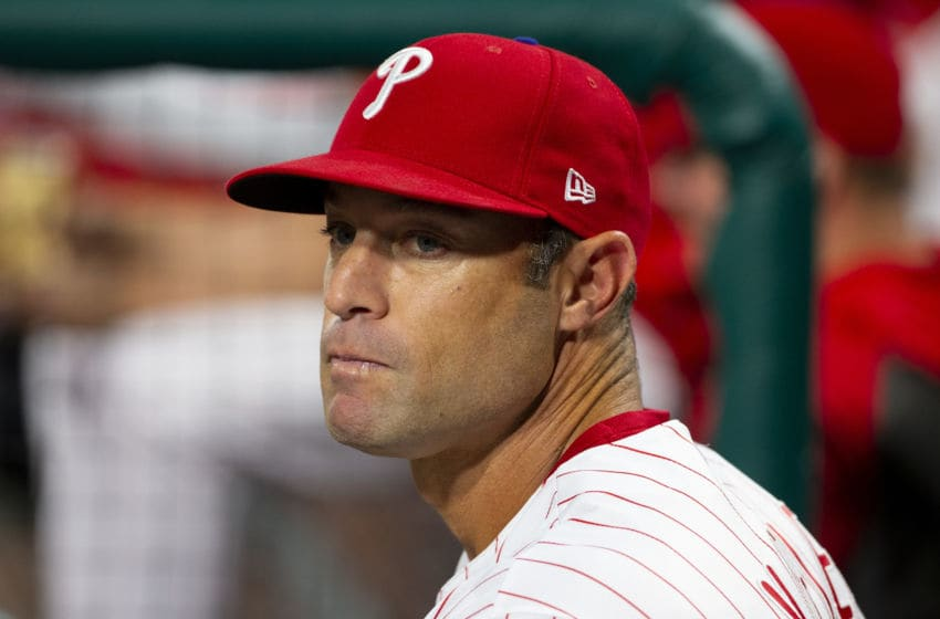 PHILADELPHIA, PA - SEPTEMBER 27: Manager Gabe Kapler #19 of the Philadelphia Phillies (Photo by Mitchell Leff/Getty Images)