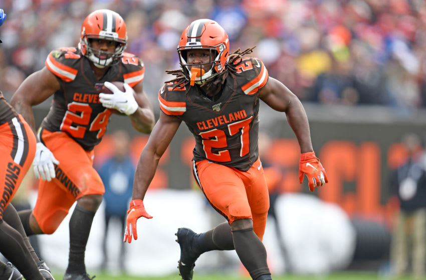 CLEVELAND, OHIO - NOVEMBER 10: Running back Kareem Hunt #27 blocks for running back Nick Chubb #24 of the Cleveland Browns during the first half against the Buffalo Bills at FirstEnergy Stadium on November 10, 2019 in Cleveland, Ohio. (Photo by Jason Miller/Getty Images)
