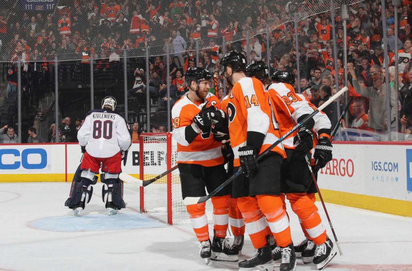 PHILADELPHIA, PENNSYLVANIA - FEBRUARY 18: The Philadelphia Flyers celebrate a power-play goal (Photo by Bruce Bennett/Getty Images)