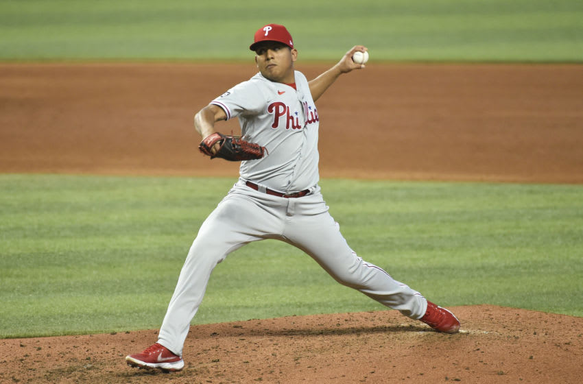 MIAMI, FL - MAY 27: Ranger Suarez #55 of the Philadelphia Phillies throws a pitch during the game against the Miami Marlins at loanDepot park on May 27, 2021 in Miami, Florida. (Photo by Eric Espada/Getty Images)