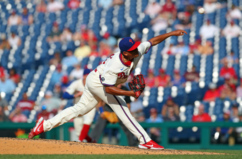 PHILADELPHIA, PA - JUNE 5: Ranger Suarez #55 of the Philadelphia Phillies throws a pitch in the fourth inning during a game against the Washington Nationals at Citizens Bank Park on June 5, 2021 in Philadelphia, Pennsylvania. The Phillies won 5-2. (Photo by Hunter Martin/Getty Images)