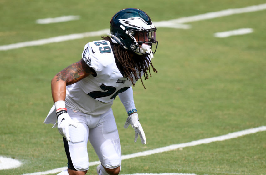 LANDOVER, MD - SEPTEMBER 13: Avonte Maddox #29 of the Philadelphia Eagles warms up before the game against the Washington Football Team at FedExField on September 13, 2020 in Landover, Maryland. (Photo by G Fiume/Getty Images)
