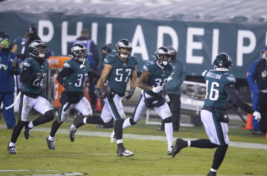 PHILADELPHIA, PA - JANUARY 03: Marcus Epps #22, Grayland Arnold #37, T.J. Edwards #57, Rudy Ford #36, and Jameson Houston #46 of the Philadelphia Eagles react against the Washington Football Team at Lincoln Financial Field on January 3, 2021 in Philadelphia, Pennsylvania. (Photo by Mitchell Leff/Getty Images)