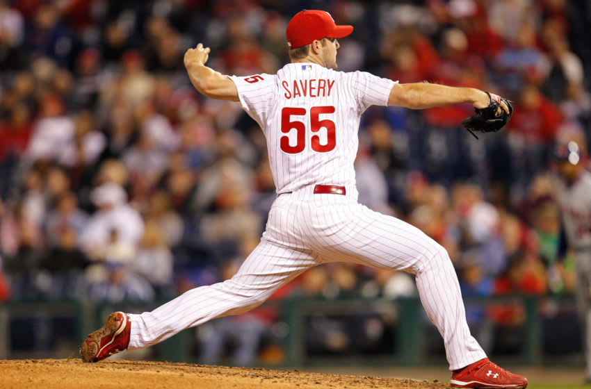 PHILADELPHIA, PA - APRIL 13: Joe Savery #55 of the Philadelphia Phillies (Photo by Brian Garfinkel/Getty Images)