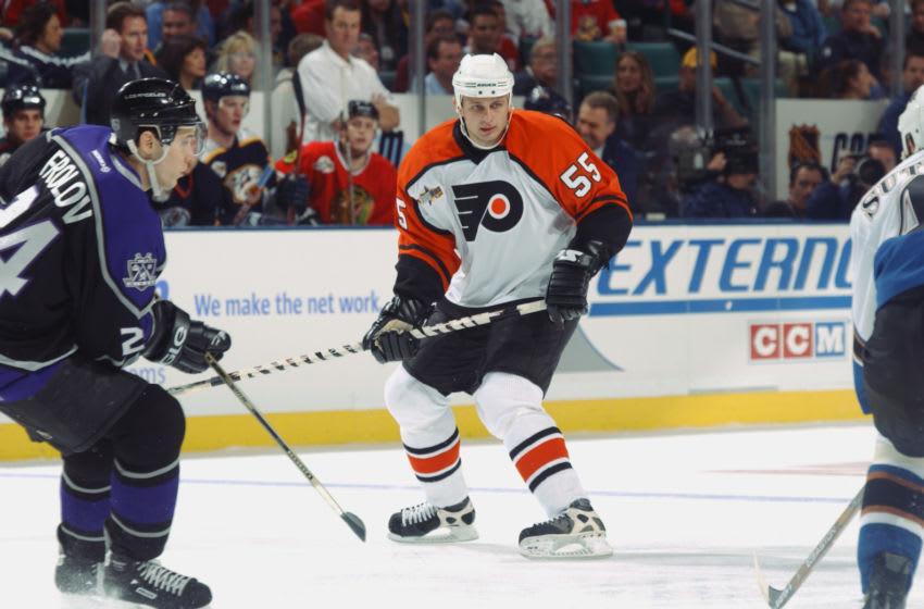 SUNRISE, FL - FEBRUARY 1: Pavel Brendl #55 of the Philadelphia Flyers looks (Photo by Dave Sandford/Getty Images/NHLI)