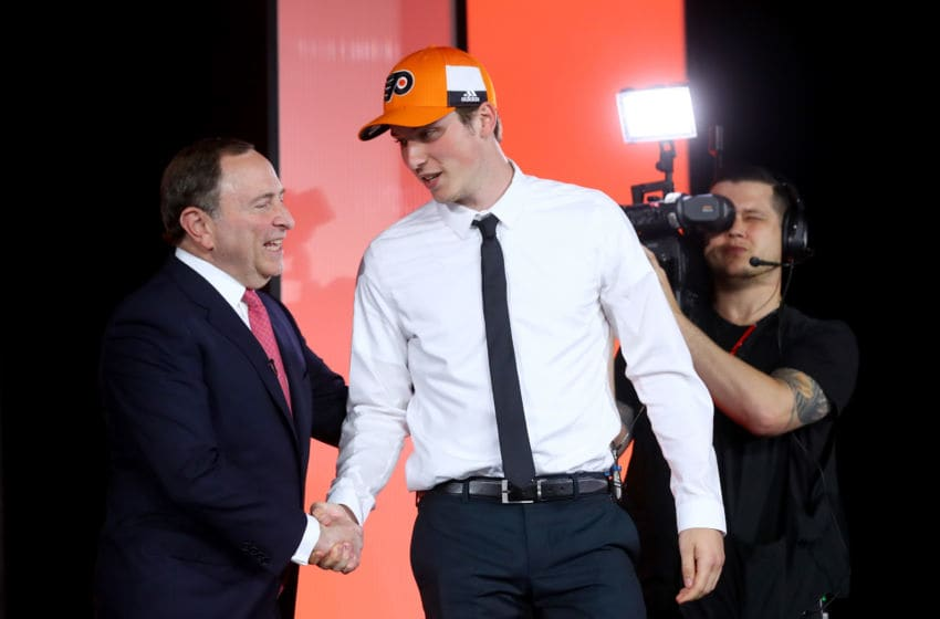 CHICAGO, IL - JUNE 23: NHL Commissioner Gary Bettman shakes hands with Nolan Patrick (Photo by Bruce Bennett/Getty Images)