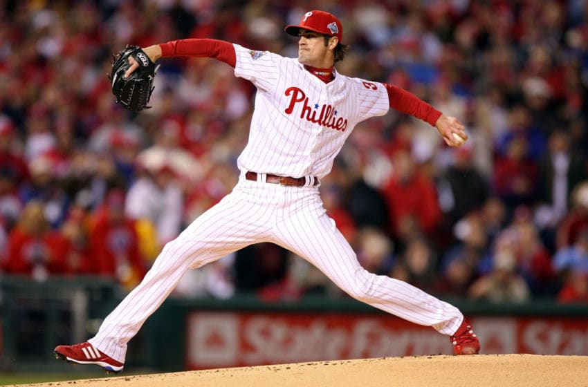 PHILADELPHIA - OCTOBER 27: Cole Hamels #35 of the Philadelphia Phillies (Photo by Jed Jacobsohn/Getty Images)
