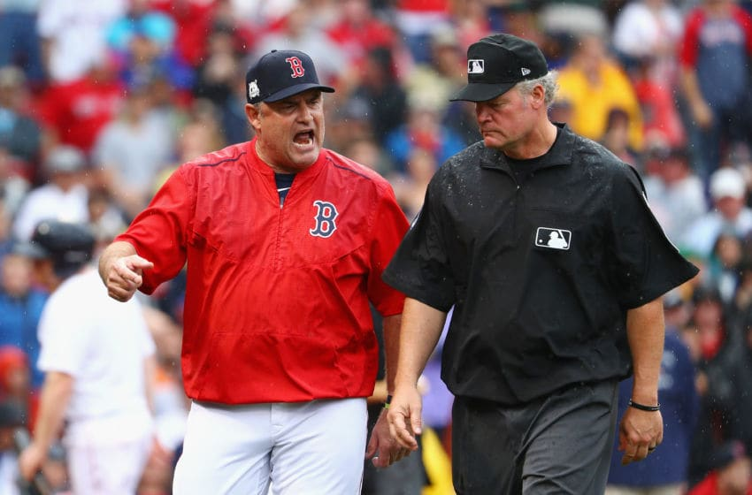 BOSTON, MA - OCTOBER 09: Manager John Farrell of the Boston Red Sox argues a call in the second inning and is ejected during game four of the American League Division Series against the Houston Astros at Fenway Park on October 9, 2017 in Boston, Massachusetts. (Photo by Maddie Meyer/Getty Images)