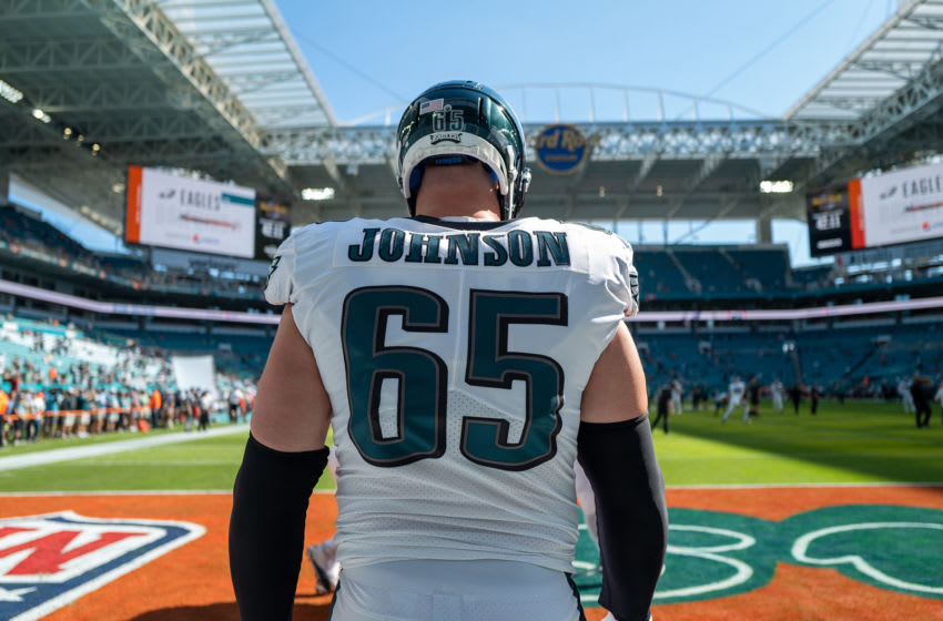 MIAMI, FLORIDA - DECEMBER 01: Lane Johnson #65 of the Philadelphia Eagles warms up prior to the game against the Miami Dolphins at Hard Rock Stadium on December 01, 2019 in Miami, Florida. (Photo by Mark Brown/Getty Images)