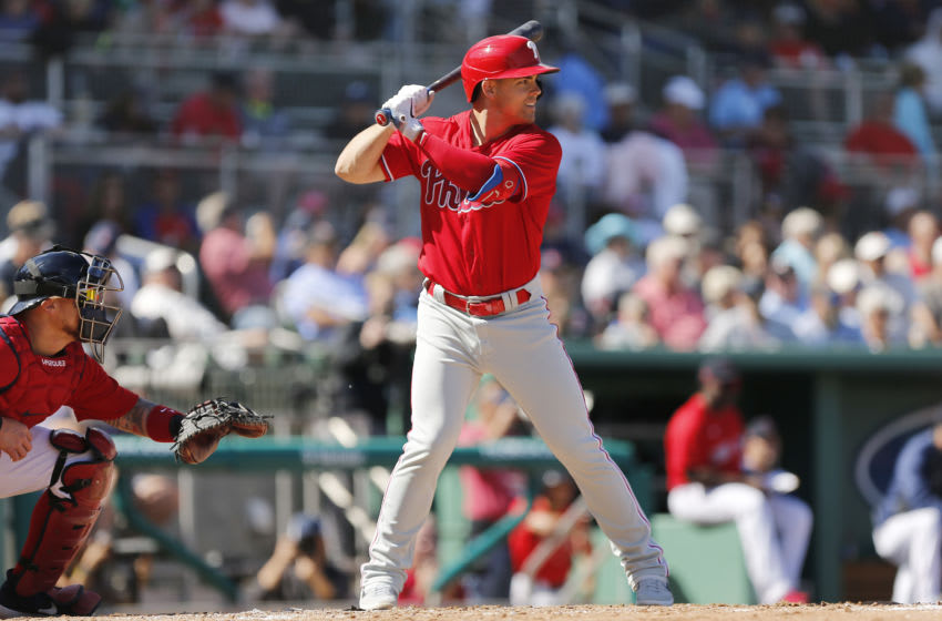 FORT MYERS, FLORIDA - FEBRUARY 27: Scott Kingery #4 of the Philadelphia Phillies at bat against the Boston Red Sox during a Grapefruit League spring training game at JetBlue Park at Fenway South on February 27, 2020 in Fort Myers, Florida. (Photo by Michael Reaves/Getty Images)