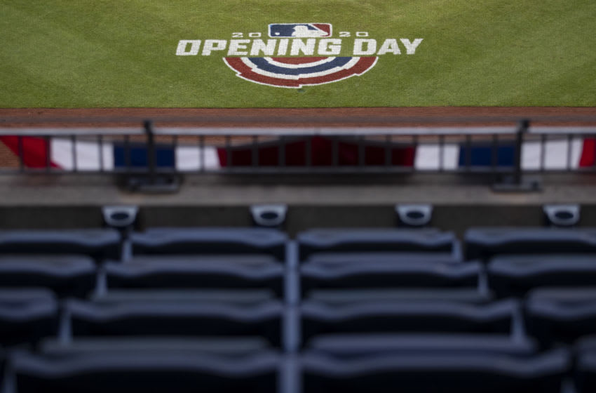 PHILADELPHIA, PA - JULY 24: A general view of the 2020 Opening Day logo during the game between the Miami Marlins and Philadelphia Phillies at Citizens Bank Park on July 24, 2020 in Philadelphia, Pennsylvania. The 2020 season had been postponed since March due to the COVID-19 pandemic. The Marlins defeated the Phillies 5-2. (Photo by Mitchell Leff/Getty Images)