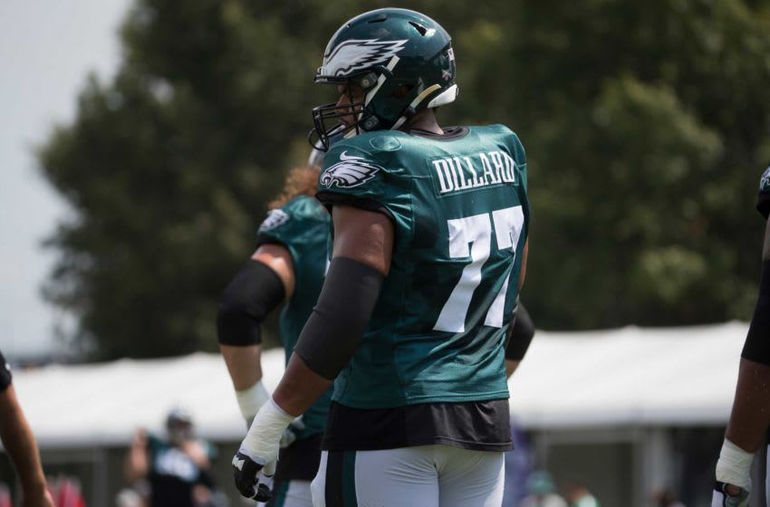 Philadelphia's Andre Dillard (77) warms up during a joint practice with the Baltimore Ravens Tuesday afternoon at the NovaCare Complex. Sports Eagles Ravens Practice