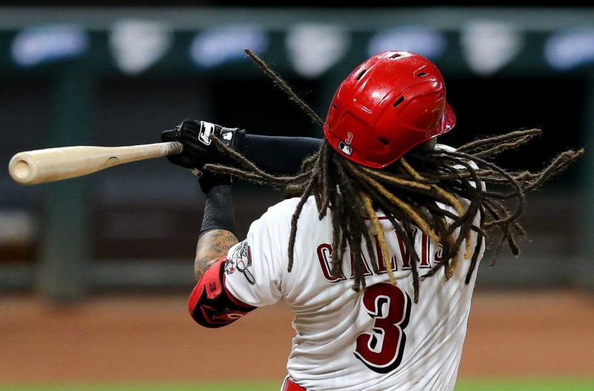 Cincinnati Reds shortstop Freddy Galvis (3) strikes out swinging in the eighth inning of a baseball game against the St. Louis Cardinals, Monday, Aug. 31, 2020, at Great American Ball Park in Cincinnati. St Louis Cardinals At Cincinnati Reds Aug 31