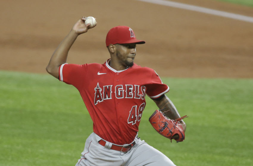 Sep 9, 2020; Arlington, Texas, USA; Los Angeles Angels starting pitcher Julio Teheran (49) throws a pitch in the first inning against the Texas Rangers at Globe Life Field. Mandatory Credit: Tim Heitman-USA TODAY Sports