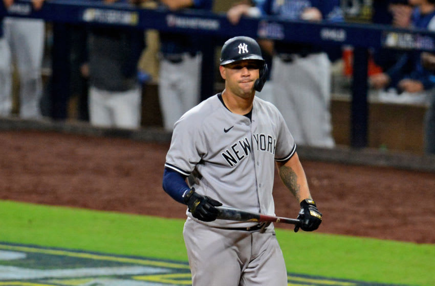 Oct 6, 2020; San Diego, California, USA; New York Yankees catcher Gary Sanchez (24) reacts after striking out in the 9th inning against the Tampa Bay Rays during game two of the 2020 ALDS at Petco Park. Mandatory Credit: Gary A. Vasquez-USA TODAY Sports