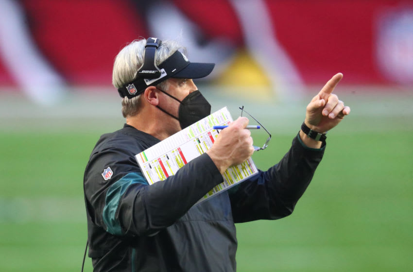 Dec 20, 2020; Glendale, Arizona, USA; Philadelphia Eagles head coach Doug Pederson reacts against the Arizona Cardinals at State Farm Stadium. Mandatory Credit: Mark J. Rebilas-USA TODAY Sports