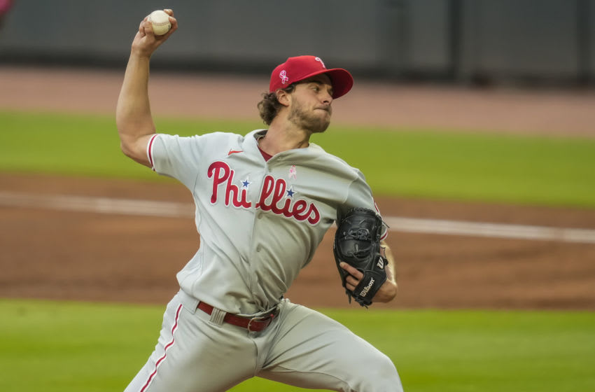 May 9, 2021; Cumberland, Georgia, USA; Philadelphia Phillies starting pitcher Aaron Nola (27) pitches against the Atlanta Braves during the first inning at Truist Park. Mandatory Credit: Dale Zanine-USA TODAY Sports