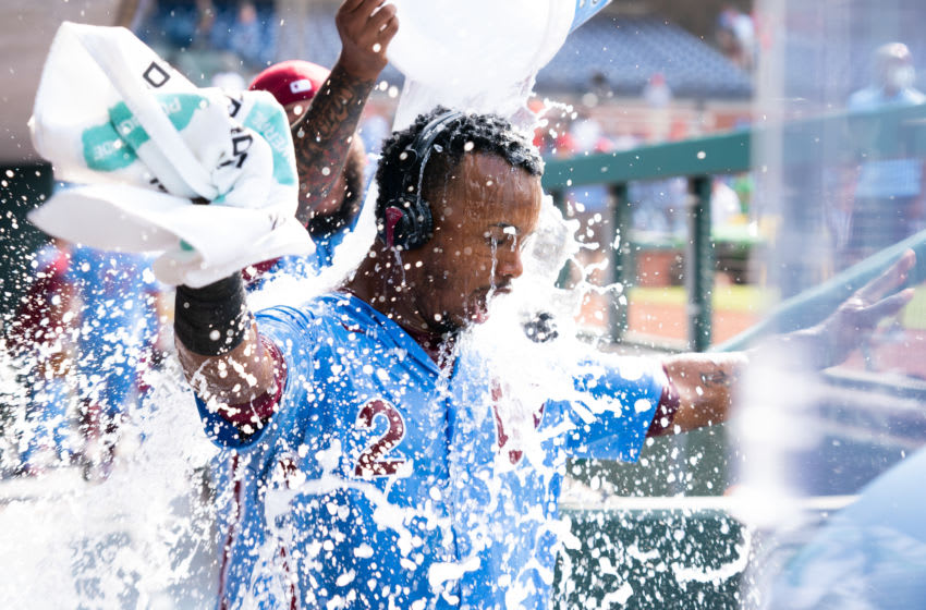 Jun 10, 2021; Philadelphia, Pennsylvania, USA; Philadelphia Phillies shortstop Jean Segura (2) is doused by ice water by relief pitcher Jose Alvarado (46) after hitting a walk off two RBI single during the tenth inning against the Atlanta Braves at Citizens Bank Park. Mandatory Credit: Bill Streicher-USA TODAY Sports