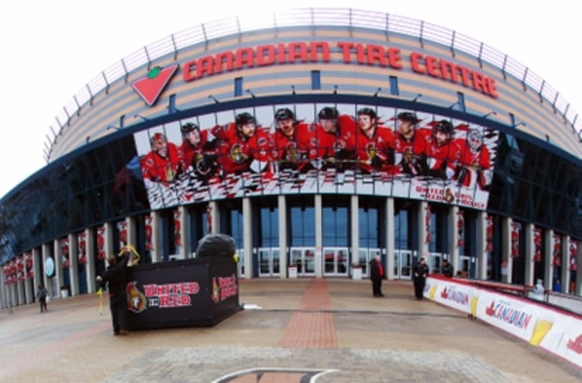 Apr 22, 2015; Ottawa, Ontario, CAN; A general view of the Ottawa Senators logo outside of the Canadian Tire Centre prior to game four of the first round of the 2015 Stanley Cup Playoffs. Mandatory Credit: Jean-Yves Ahern-USA TODAY Sports