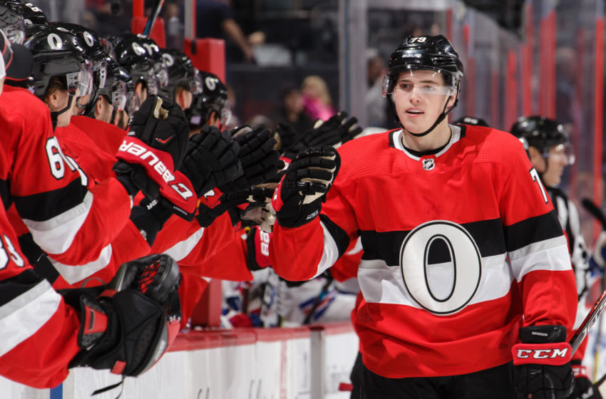 OTTAWA, ON - NOVEMBER 29: Drake Batherson #79 of the Ottawa Senators celebrates his first period goal against the New York Rangers with players on the bench at Canadian Tire Centre on November 29, 2018 in Ottawa, Ontario, Canada. (Photo by Jana Chytilova/Freestyle Photography/Getty Images)