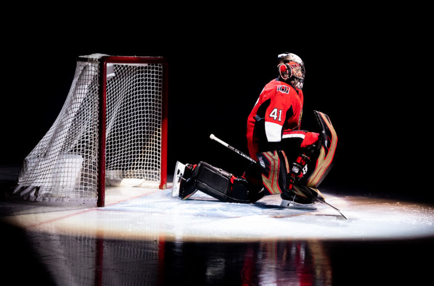 OTTAWA, ON - DECEMBER 17: Ottawa Senators Goalie Craig Anderson (41) in the spotlight before National Hockey League action between the Nashville Predators and Ottawa Senators on December 17, 2018, at Canadian Tire Centre in Ottawa, ON, Canada. (Photo by Richard A. Whittaker/Icon Sportswire via Getty Images)