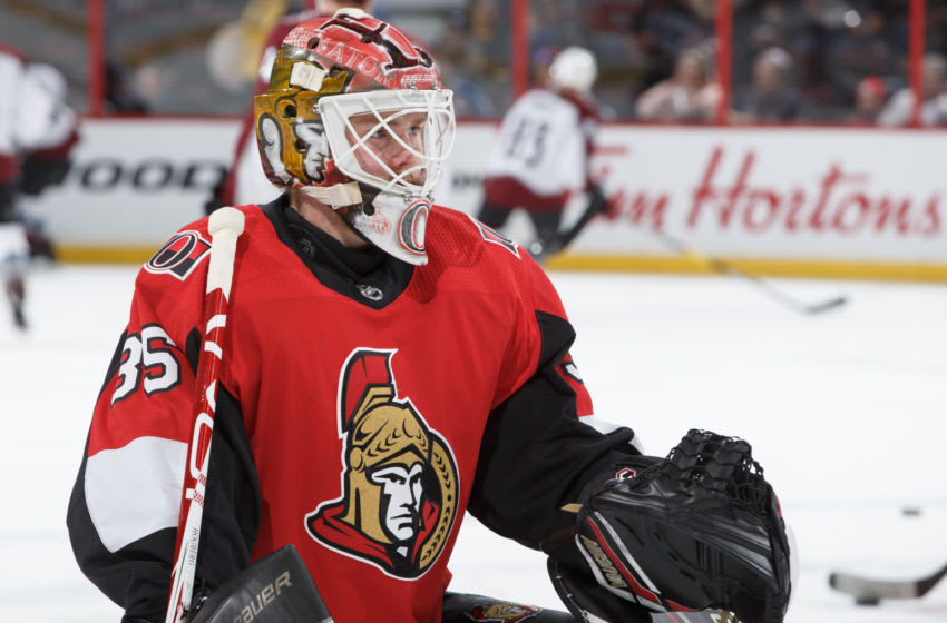 OTTAWA, ON - JANUARY 16: Marcus Hogberg #35 of the Ottawa Senators warms up prior to a game against the Colorado Avalanche at Canadian Tire Centre on January 16, 2019 in Ottawa, Ontario, Canada. (Photo by Andre Ringuette/NHLI via Getty Images)