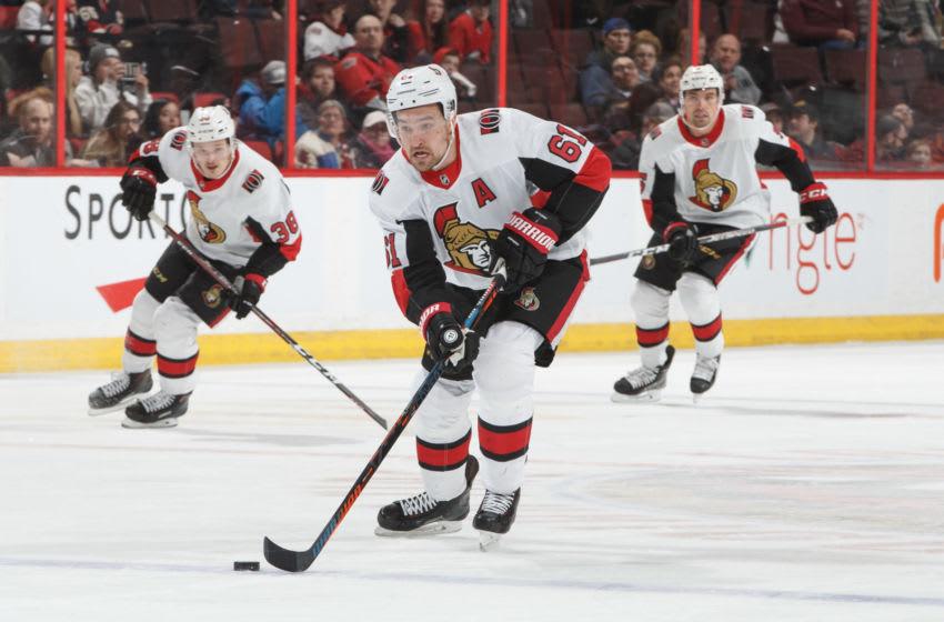 OTTAWA, ON - FEBRUARY 12: Mark Stone #61 of the Ottawa Senators skates against the Carolina Hurricanes at Canadian Tire Centre on February 12, 2019 in Ottawa, Ontario, Canada. (Photo by Andre Ringuette/NHLI via Getty Images)