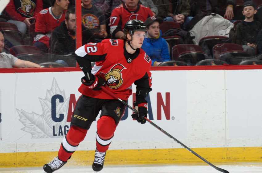 OTTAWA, ON - FEBRUARY 22: Thomas Chabot #72 of the Ottawa Senators skates against the Columbus Blue Jackets at Canadian Tire Centre on February 22, 2019 in Ottawa, Ontario, Canada. (Photo by Matt Zambonin/NHLI via Getty Images)
