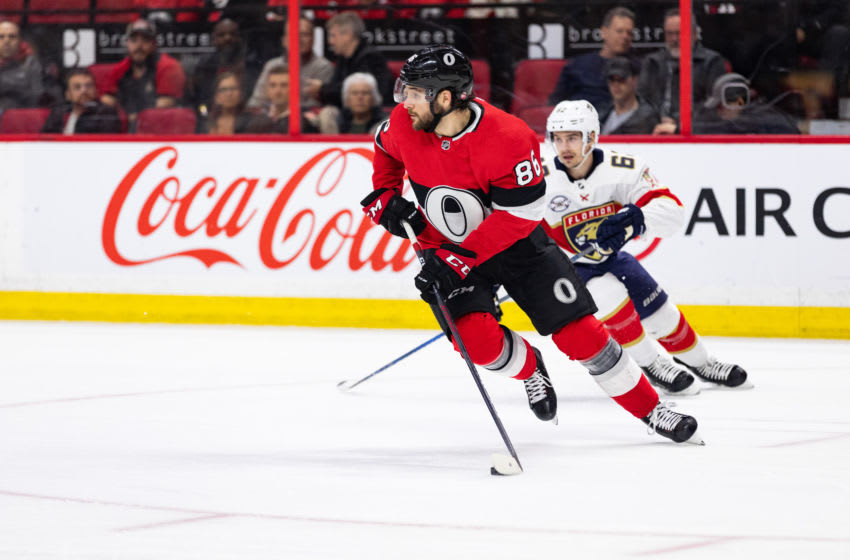 OTTAWA, ON - MARCH 28: Ottawa Senators Defenceman Christian Wolanin (86) skates with the puck during first period National Hockey League action between the Florida Panthers and Ottawa Senators on March 28, 2019, at Canadian Tire Centre in Ottawa, ON, Canada. (Photo by Richard A. Whittaker/Icon Sportswire via Getty Images)