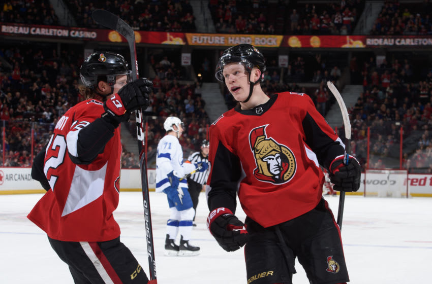OTTAWA, ON - APRIL 1: Brady Tkachuk #7 of the Ottawa Senators celebrates with Thomas Chabot #72 after scoring a first period goal on the Tampa Bay Lightning at Canadian Tire Centre on April 1, 2019 in Ottawa, Ontario, Canada. (Photo by Andrea Cardin/NHLI via Getty Images)