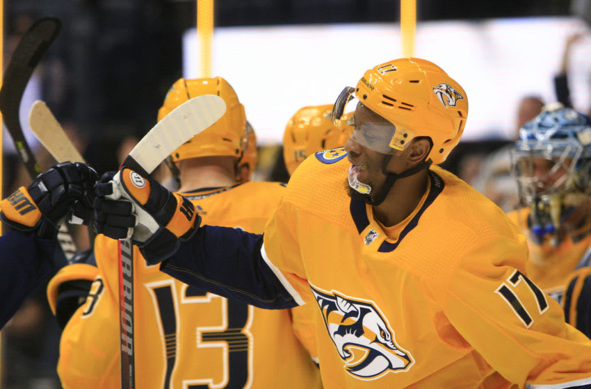 NASHVILLE, TN - APRIL 06: Nashville Predators right wing Wayne Simmonds (17) congratulates teammates at the conclusion of the NHL game between the Nashville Predators and Chicago Blackhawks, held on April 6, 2019, at Bridgestone Arena in Nashville, Tennessee. (Photo by Danny Murphy/Icon Sportswire via Getty Images)