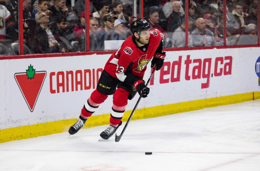 OTTAWA, ON - APRIL 06: Ottawa Senators Defenceman Christian Jaros (83) skates the puck around the net during third period National Hockey League action between the Columbus Blue Jackets and Ottawa Senators on April 6, 2019, at Canadian Tire Centre in Ottawa, ON, Canada. (Photo by Richard A. Whittaker/Icon Sportswire via Getty Images)