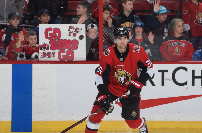 OTTAWA, ON - APRIL 01: Colin White #36 of the Ottawa Senators warms up prior to a game against the Tampa Bay Lightning at Canadian Tire Centre on April 1, 2019 in Ottawa, Ontario, Canada. (Photo by Andrea Cardin/NHLI via Getty Images)
