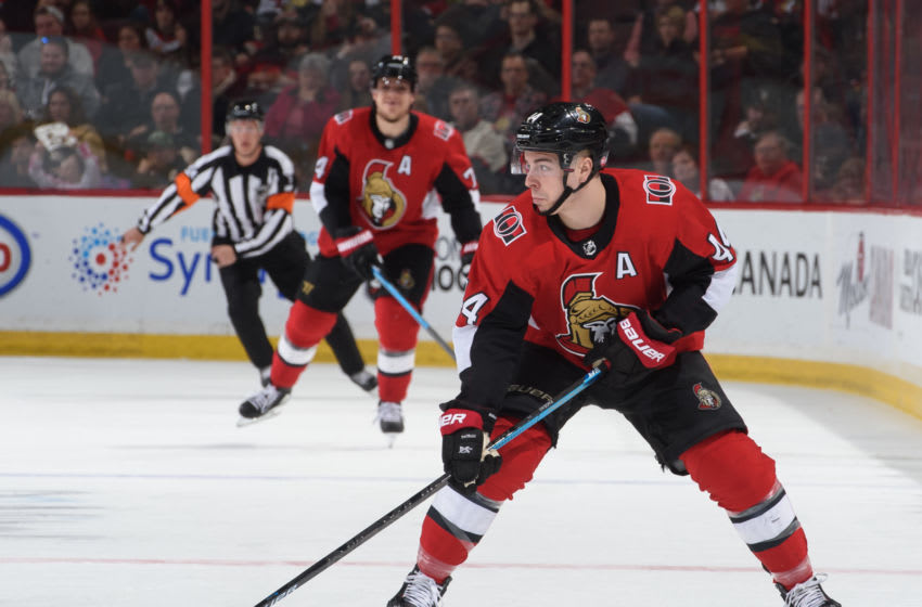OTTAWA, ON - APRIL 6: Jean-Gabriel Pageau #44 of the Ottawa Senators skates against the Columbus Blue Jackets at Canadian Tire Centre on April 6, 2019 in Ottawa, Ontario, Canada. (Photo by Andrea Cardin/NHLI via Getty Images)