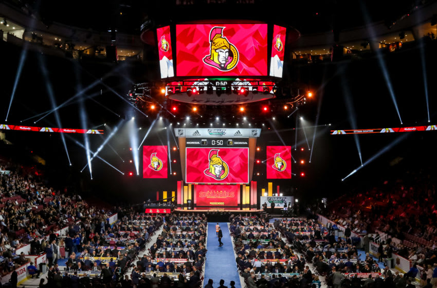 VANCOUVER, BC - JUNE 21: A general view of the draft floor prior to the Ottawa Senators pick during the first round of the 2019 NHL Draft at Rogers Arena on June 21, 2019 in Vancouver, British Columbia, Canada. (Photo by Jonathan Kozub/NHLI via Getty Images)