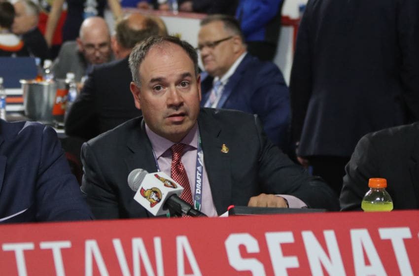 VANCOUVER, BRITISH COLUMBIA - JUNE 22: Pierre Dorion of the Ottawa Senators attends the 2019 NHL Draft at the Rogers Arena on June 22, 2019 in Vancouver, Canada. (Photo by Bruce Bennett/Getty Images)