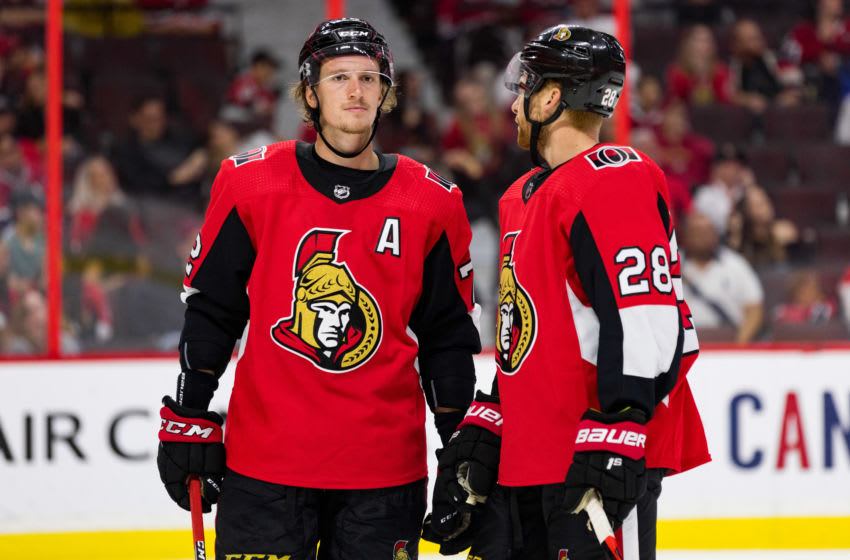 OTTAWA, ON - SEPTEMBER 21: Ottawa Senators defenseman Thomas Chabot (72) listens to Ottawa Senators right wing Connor Brown (28) during third period National Hockey League preseason action between the Montreal Canadiens and Ottawa Senators on September 21, 2019, at Canadian Tire Centre in Ottawa, ON, Canada. (Photo by Richard A. Whittaker/Icon Sportswire via Getty Images)